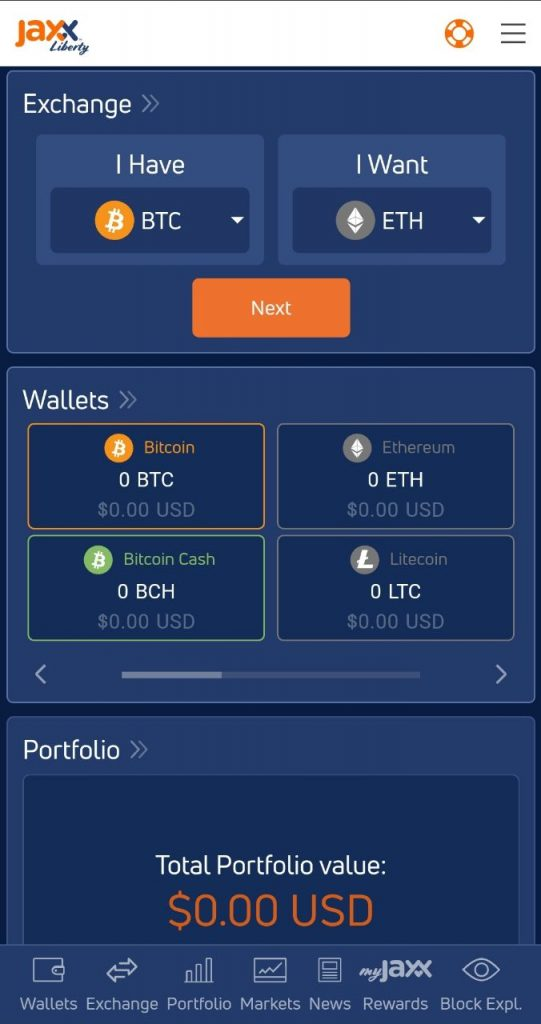 Jaxx Mobile Crypto Wallet Screenshot