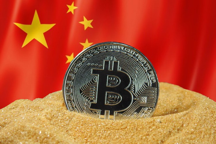 bitcoin with china flag in background