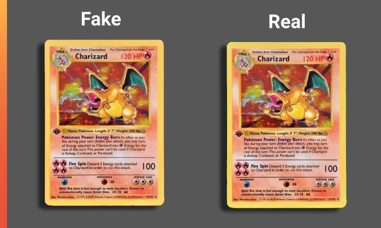 Fake versus Real Charizard card